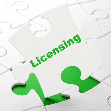 licensing: Law concept: Licensing on White puzzle pieces background, 3d render