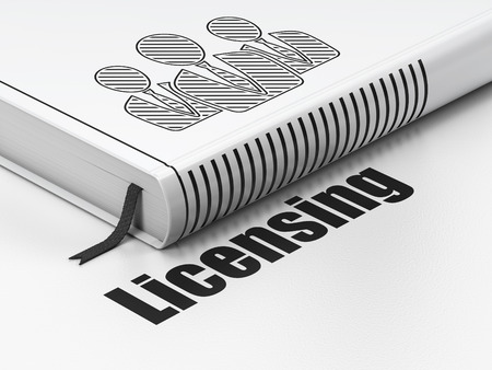 licensing: Law concept: closed book with Black Business People icon and text Licensing on floor, white background, 3d render Stock Photo