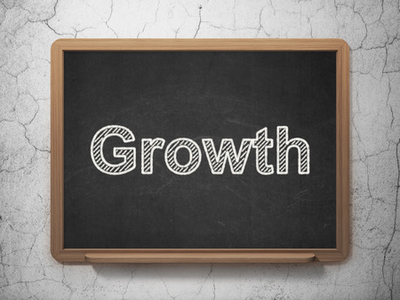 Finance concept: text Growth on Black chalkboard on grunge wall background, 3d render photo