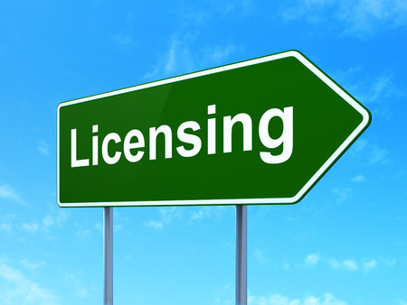 Law concept: Licensing on green road (highway) sign, clear blue sky background, 3d render photo