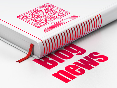 News concept: closed book with Red Computer Pc icon and text Blog News on floor, white background, 3d render photo