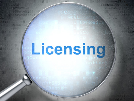 licensing: Law concept: magnifying optical glass with words Licensing on digital background, 3d render Stock Photo