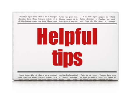 Education concept: newspaper headline Helpful Tips on White background, 3d render photo