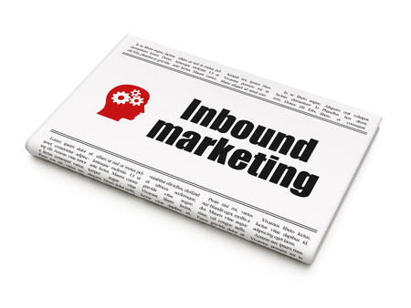 Finance concept: newspaper headline Inbound Marketing and Head With Gears icon on White background, 3d render photo