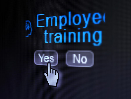 Education concept: buttons yes and no with pixelated Head With Finance Symbol icon, word Employee Training and Hand cursor on digital computer screen, selected focus 3d render photo