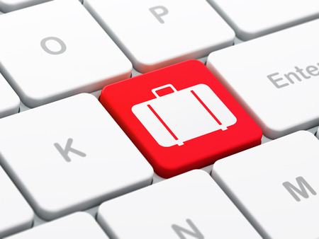 Vacation concept: computer keyboard with Bag icon on enter button background, selected focus, 3d render photo
