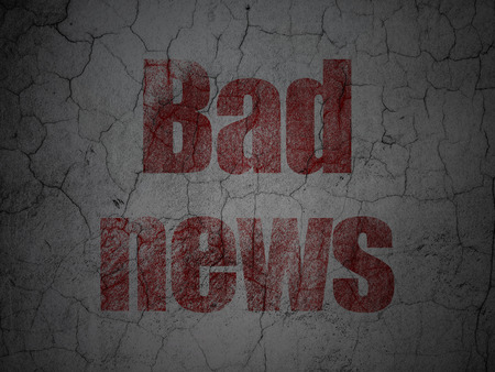 bad news: News concept: Red Bad News on grunge textured concrete wall background, 3d render Stock Photo