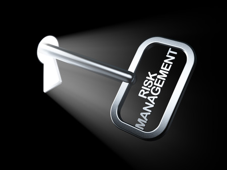 Finance concept: Risk Management on key in keyhole, 3d render photo