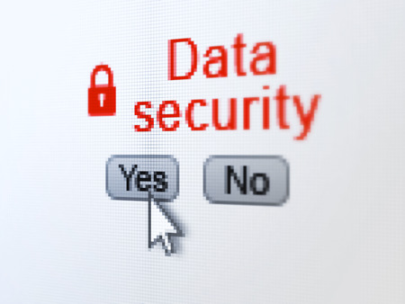 Safety concept: buttons yes and no with pixelated Closed Padlock icon, word Data Security and Arrow cursor on digital computer screen, selected focus 3d render photo
