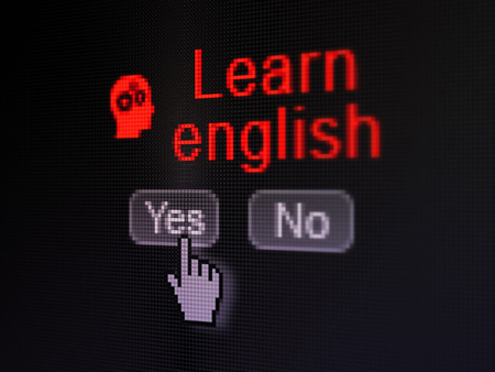 Education concept: buttons yes and no with pixelated Head With Gears icon, word Learn English and Hand cursor on digital computer screen, selected focus 3d render photo