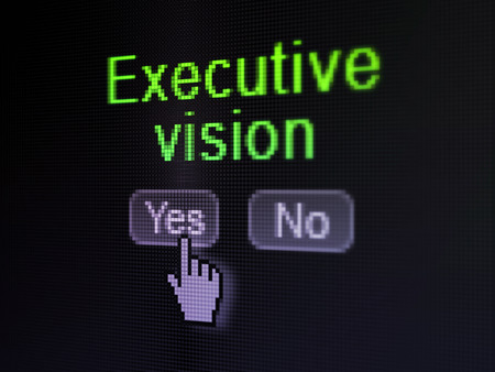Finance concept: buttons yes and no with pixelated word Executive Vision and Hand cursor on digital computer screen, selected focus 3d render photo
