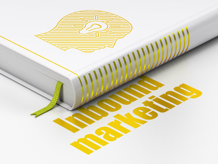 Business concept: closed book with Gold Head With Light Bulb icon and text Inbound Marketing on floor, white background, 3d render photo