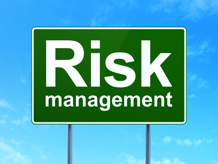 Finance concept: Risk Management on green road (highway) sign, clear blue sky background, 3d render photo