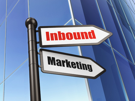 Finance concept: sign Inbound Marketing on Building background, 3d render photo