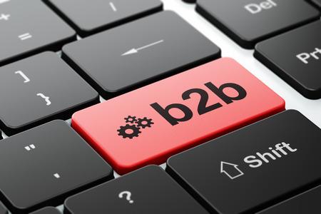 b2b: Concepto de negocio: Teclado de ordenador con engranajes icono y palabra B2b, de enfoque seleccionada en el bot�n de entrar, 3d