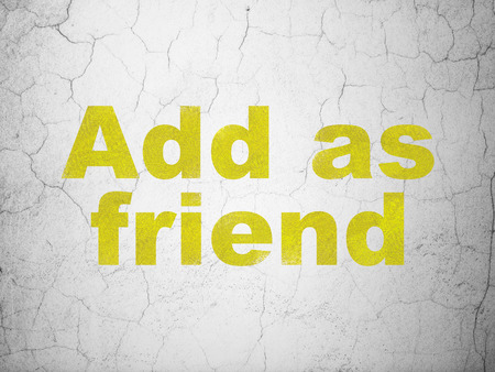 Social network concept: Yellow Add as Friend on textured concrete wall background, 3d render photo