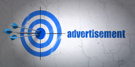 Success marketing concept: arrows hitting the center of target, Blue Advertisement on wall background, 3d render photo