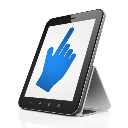 Social network concept: black tablet pc computer with Mouse Cursor icon on display. Modern portable touch pad on White background, 3d render photo