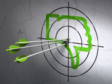 Success social media concept: arrows hitting the center of Green Thumb Down target on wall background, 3d render photo