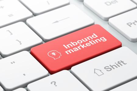 Business concept: de computer toetsenbord met Hoofd Met Gloeilamp pictogram en woord Inbound Marketing, geselecteerd focus op enter-toets, 3d render Stockfoto - 26309718