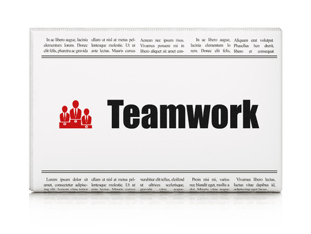 Business concept: newspaper headline Teamwork and Business Team icon on White background, 3d render photo
