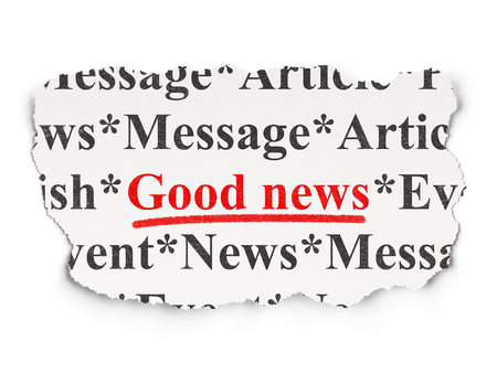 News concept: torn newspaper with words Good News on Paper background, 3d render photo
