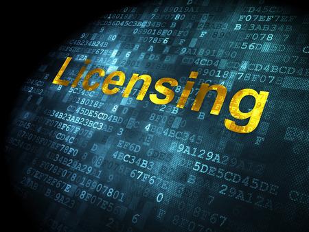 licensing: Law concept: pixelated words Licensing on digital background, 3d render