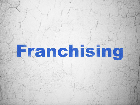 franchising: Finance concept: Blue Franchising on textured concrete wall background, 3d render