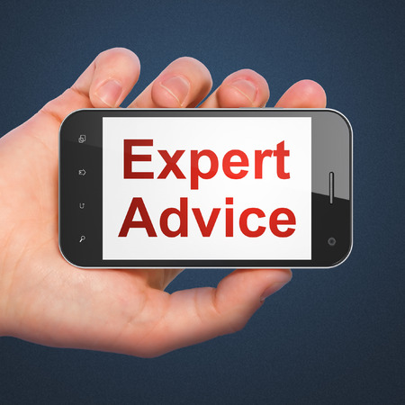 Law concept: hand holding smartphone with word Expert Advice on display. Mobile smart phone on Blue background, 3d render Stock Photo