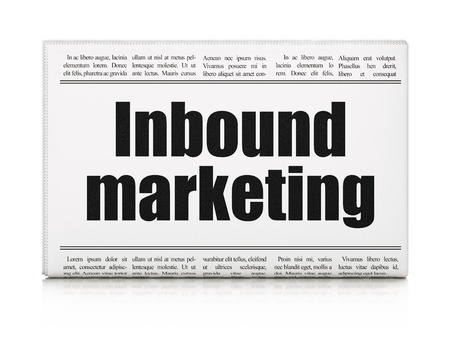 buisnes: Business concept: newspaper headline Inbound Marketing on White background, 3d render Stock Photo