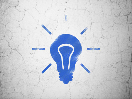 Finance concept: Blue Light Bulb on textured concrete wall background, 3d render photo