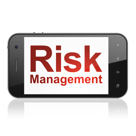 Business concept: smartphone with text Risk Management on display. Mobile smart phone on White background, cell phone 3d render photo