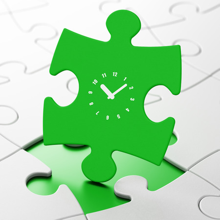 Timeline concept: Clock on Green puzzle pieces background, 3d render photo