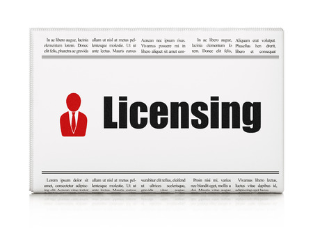 Law concept: newspaper headline Licensing and Business Man icon on White background, 3d render photo