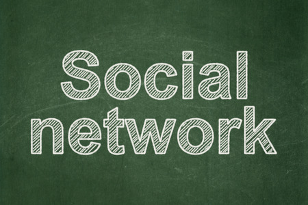 Social network concept: text Social Network on Green chalkboard background, 3d render photo