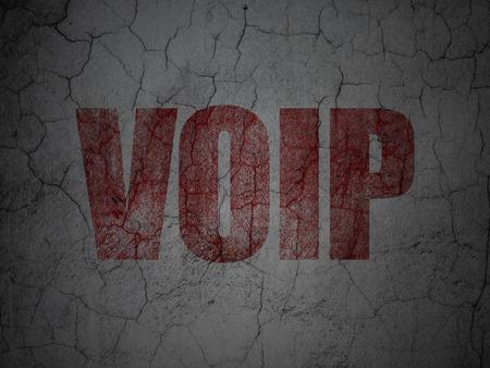 Web development concept: Red VOIP on grunge textured concrete wall background, 3d render photo