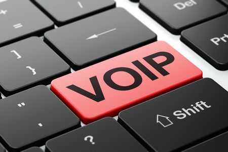 Web design concept: computer keyboard with word VOIP, selected focus on enter button background, 3d render photo