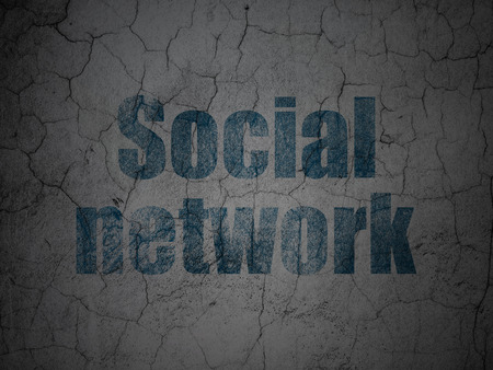 Social media concept: Blue Social Network on grunge textured concrete wall background, 3d render photo