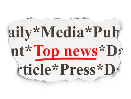News concept: torn newspaper with words Top News on Paper background, 3d render photo