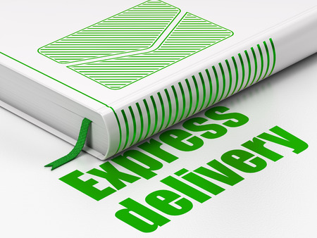 buisnes: Finance concept: closed book with Green Email icon and text Express Delivery on floor, white background, 3d render