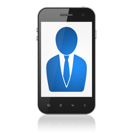 News concept: smartphone with Business Man icon on display. Mobile smart phone on White background, cell phone 3d render photo