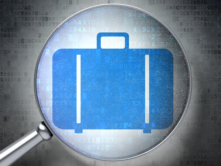Tourism concept: magnifying optical glass with Bag icon on digital background, 3d render