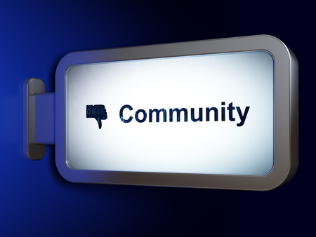 Social network concept: Community and Thumb Down on advertising billboard background, 3d render