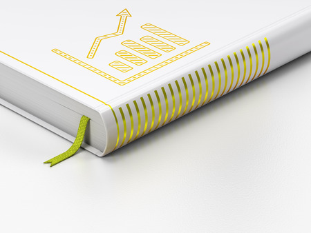 News concept: closed book with Gold Growth Graph icon on floor, white background, 3d render photo