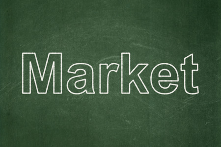 Business concept: text Market on Green chalkboard background, 3d render photo