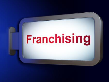 franchising: Business concept: Franchising on advertising billboard background, 3d render