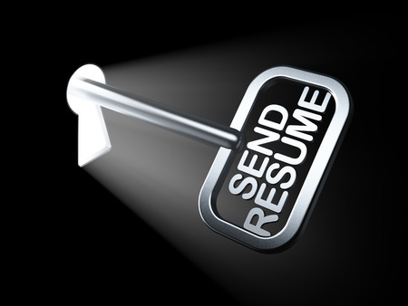 Business concept: Send Resume on key in keyhole, 3d render photo