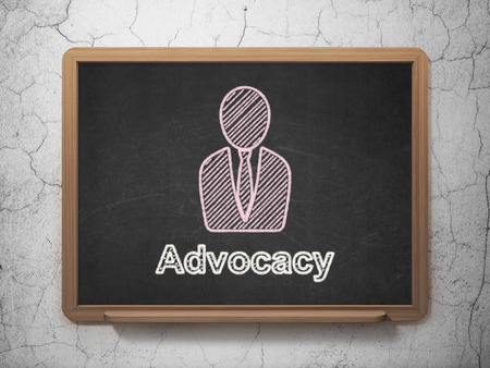advocacy: Law concept: Business Man icon and text Advocacy on Black chalkboard on grunge wall background, 3d render Stock Photo