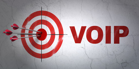 voip: Success web design concept: arrows hitting the center of target, Red VOIP on wall background, 3d render
