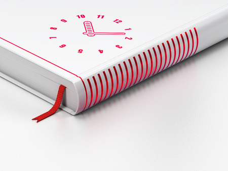 Time concept: closed book with Red Clock icon on floor, white background, 3d render Stock Photo
